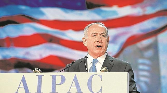 Netanyahu, ayer, en su intervención en el American Israel Public Affairs Commitee