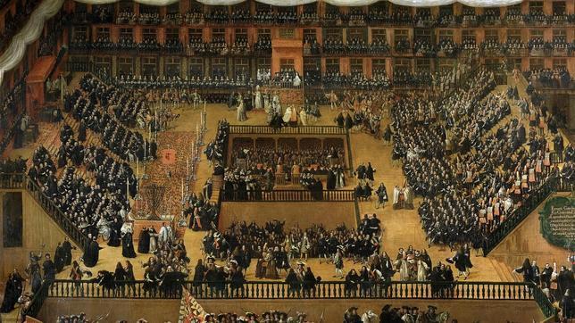 Auto de fe celebrado en la Plaza Mayor en 1680 en presencia de Carlos II. Óleo de Francisco Rizi conservado en el Museo del Prado