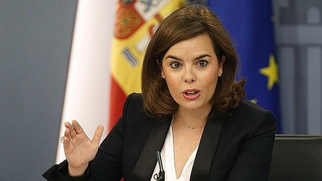 La vicepresidenta del Gobierno, Soraya Sáenz de Santamaría, en la rueda de prensa posterior al Consejo de Ministros
