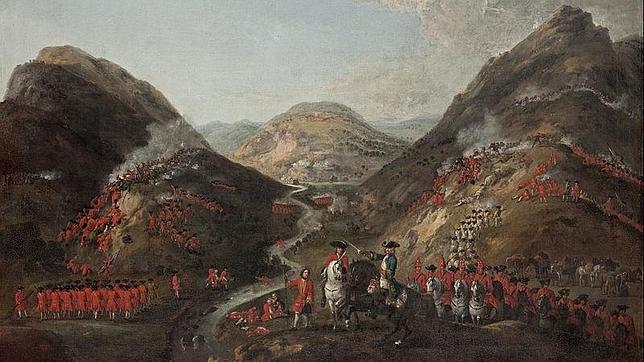 Cuadro de la batalla de Glenshiel, combate que puso fin a la expedición de los 307 infantes españoles