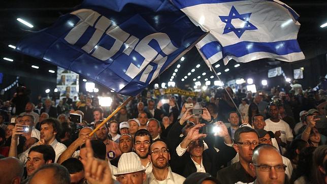 Seguidores del primer ministro israelí, Benjamin Netanyahu