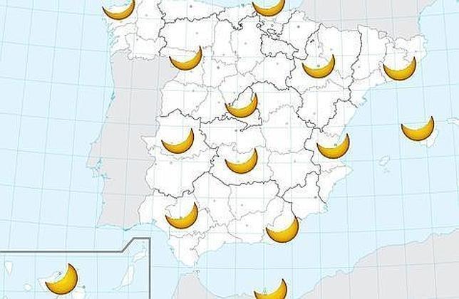 La magnitud del eclipse desde las distintas comunidades