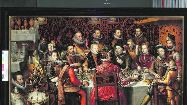 Banquete real. Este cuadro está atribuido a Alonso Sánchez Coello y procede del Museo Nacional de Varsovia