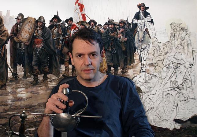 Ferrer-Dalmau, junto al cuadro sobre «El milagro de Empel», que está a punto de acabar