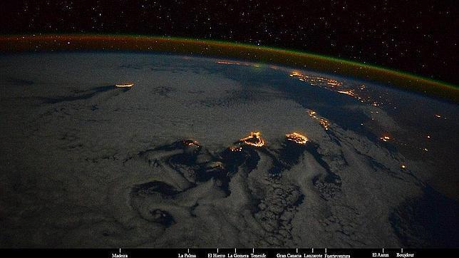 Imagen de Canarias tomada desde la estación Espacial Internacional por la astronauta italiana Samantha Cristoforetti