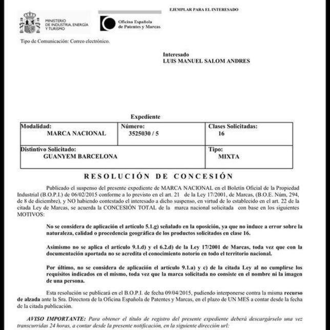 La oficina de patentes ratifica que luis salom es due o de for Oficina patentes y marcas barcelona