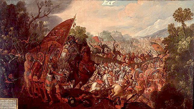 Batalla de Otumba. Óleo del siglo XVII