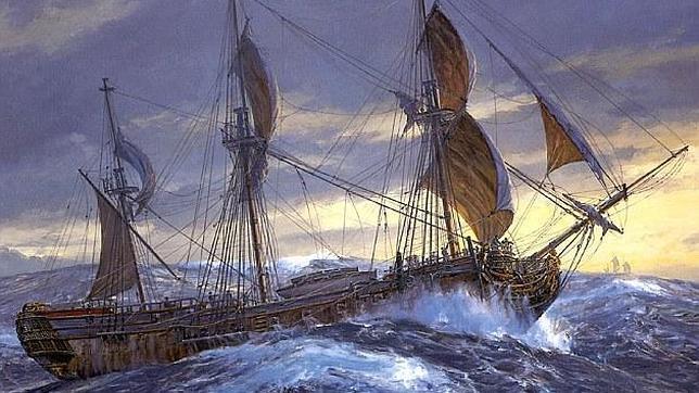 Un óleo del HMS Wager, cuya historia es controvertida y muestra lo peor del ser humano