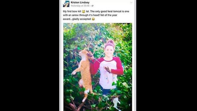 Kristen Lindsey aparece con el gato que maó con una flecha