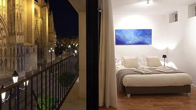 Uno de los apartamentos de Puerta Catedral Suites, con vistas inmejorables