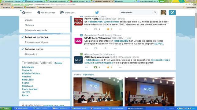 Captura de Twitter tomada esta tarde en pleno debate electoral