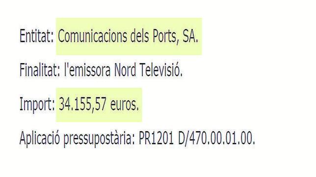 Detalle del DOGC con la subvención concedida a la emisora Nord Televisió
