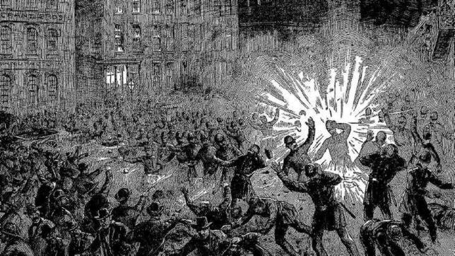 Grabado de la explosión en la revuelta de Haymarket, evento que conmemora el Día del Trabajador