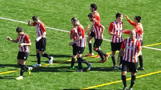 Los jugadores del San Serván, en un partido de esta temporada