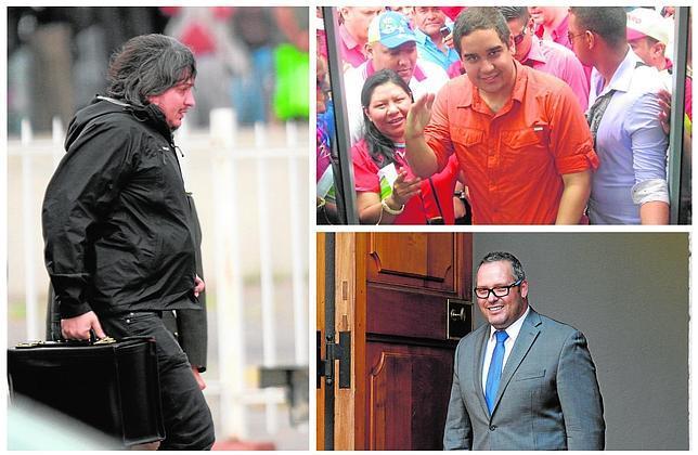 Máximo Kirchner (izquierda), Nicolás Maduro (a la derecha, arriba) y Sebastián Dávalos Bachelet