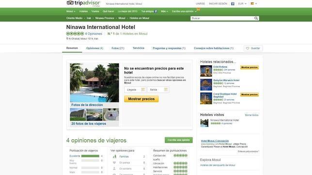 Captura de pantalla de la página web de TripAdvisor, donde está anunciado el Hotel Ninawa