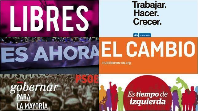 Los lemas de los seis partidos para las próximas elecciones
