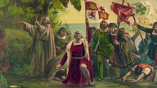 Pintura de la llegada de Cristóbal Colón a América en 1492