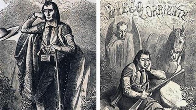 Dos grabados antiguos que representan al bandolero Diego Corriente