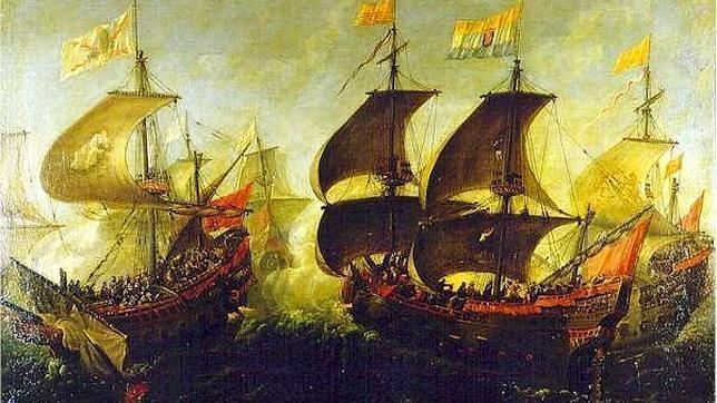 Combate durante los viajes hacia el Nuevo Mundo entre buques holandeses y españoles