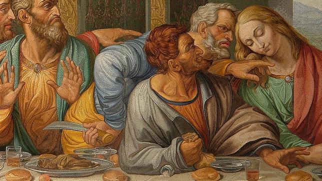Judas derrama la sal con el brazo en el mosaico copiado por Giacomo Raffaelli de «La Última Cena» de Leonardo da Vinci