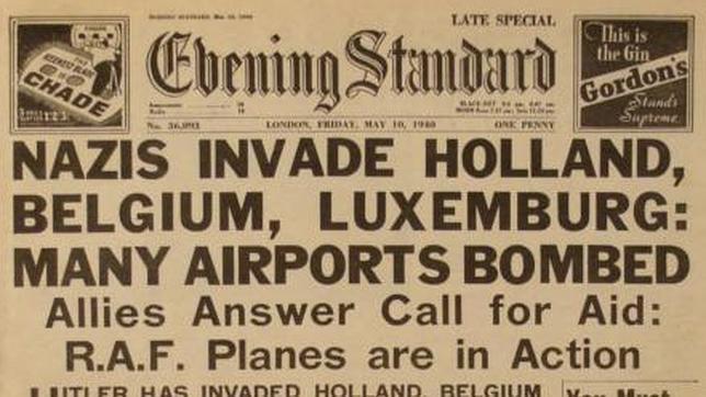 Diario londinense que recoge la invasión de Holanda