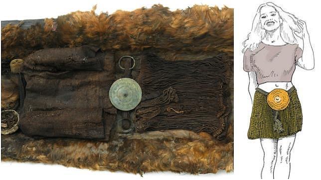 Restos de ropas de la muchacha, en el Museo de Copenhage y una reconstrucción de su aspecto