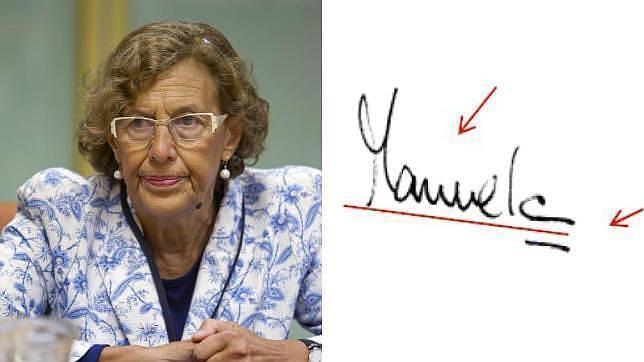 Manuela Carmena (Ahora Madrid),  y su firma