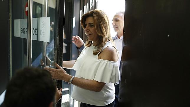 Susana Díaz, a su llegada a Ferraz