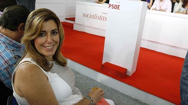Susana Díaz antes del comienzo del Comité Federal del PSOE este sábado