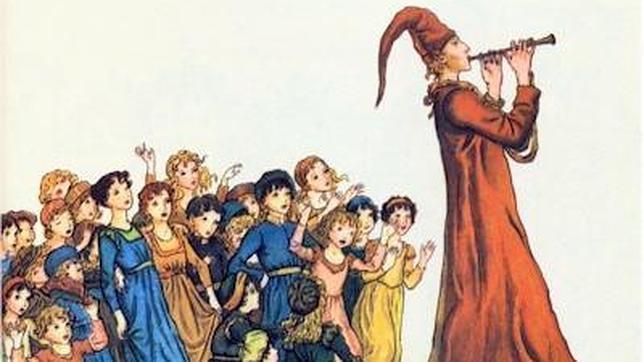 Ilustración del cuento «El flautista de Hamelín», una fábula probablemente inspirada en la Cruzada de los Niños
