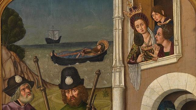 Fragmento de la tabla «Traslado del cuerpo de Santiago el Mayor ante el palacio de la reina Lupa», de Martín Bernat (1480 - 1490)