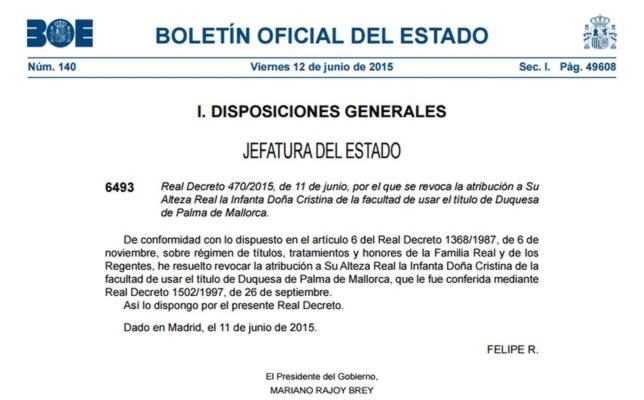 El Real Decreto por el que se revoca el título de Duquesa de Palma de Mallorca a la Infanta Cristina