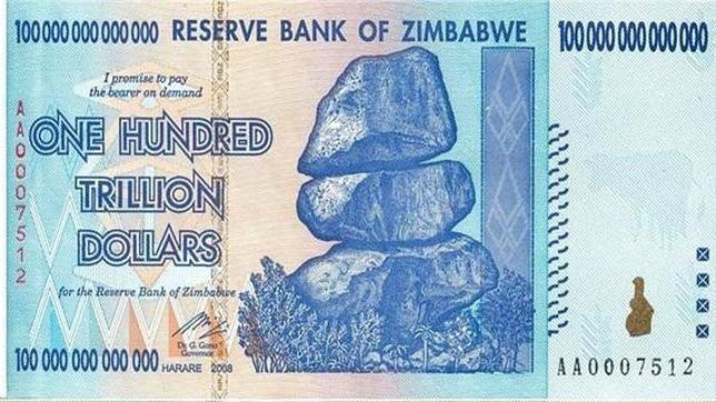 El billete de 100.000.000.000.0000 dólares
