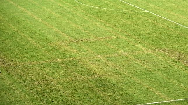 La esvástica, dibujada sobre el césped del estadio