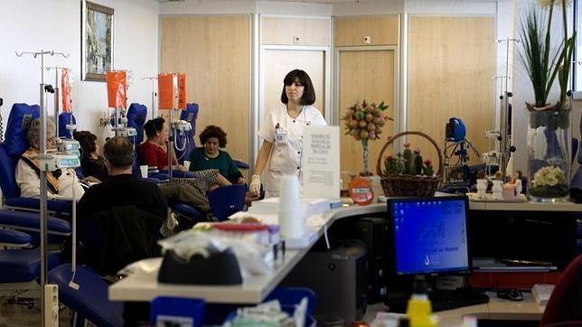 Una sala de quimioterapia de un hospital en Madrid
