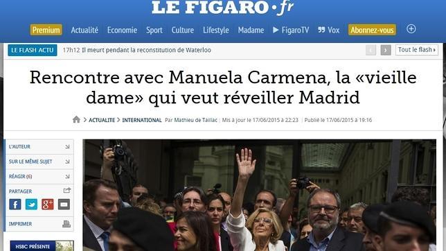La portada del diario francés que publicaba la entrevista con la alcaldesa de Madrid