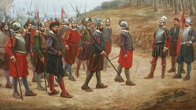 «Pizarro y los trece de la isla del Gallo», lienzo del museo arqueológico de Lima