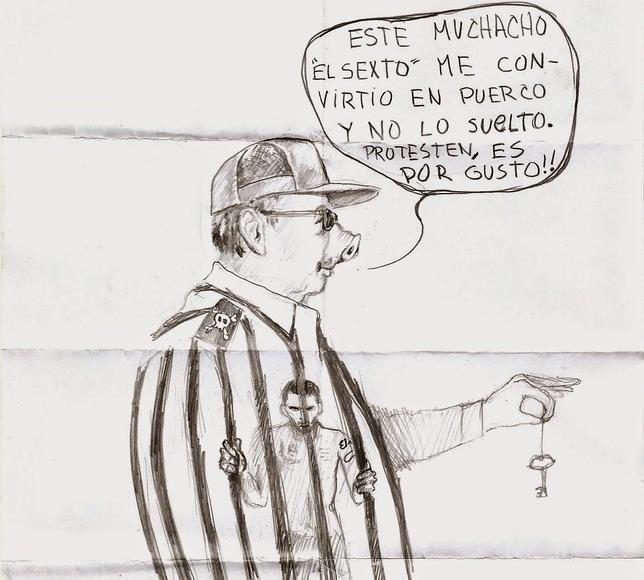 Raúl Castro, retratado por Danilo Maldonado en su celda de Valle Grande