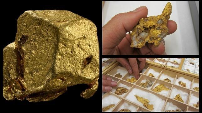 Pepitas y cristales de oro que podrán verse en el Museo Geominero