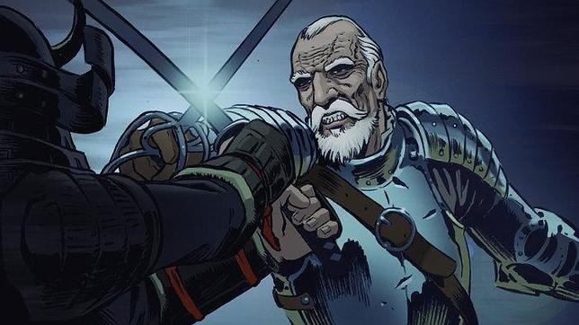 Viñeta del capitán Juan Pablo de Carrión, protagonista del cómic «Espadas del fin del mundo»