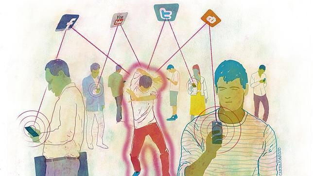 Ilustración de hombres mirando sus teléfonos móviles conectados a Twitter, Facebook y otras redes