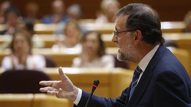 El presidente del Gobierno, Mariano Rajoy, en una comparecencia en el Senado