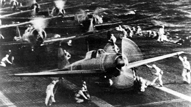 Varios cazas «Zero» fabricados por Mitsubishi