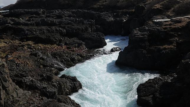 Cascada Barnafoss, en Islandia