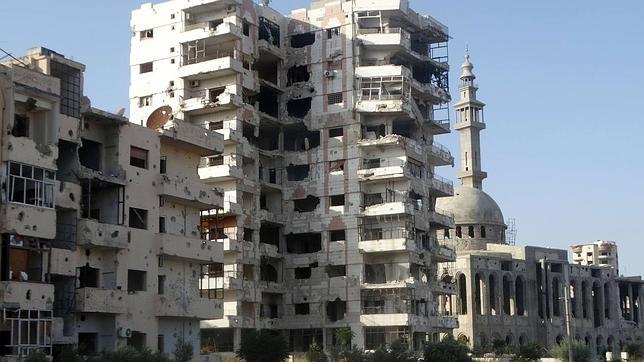 Uno de los barrios de la destruida ciudad siria de Homs en 2015