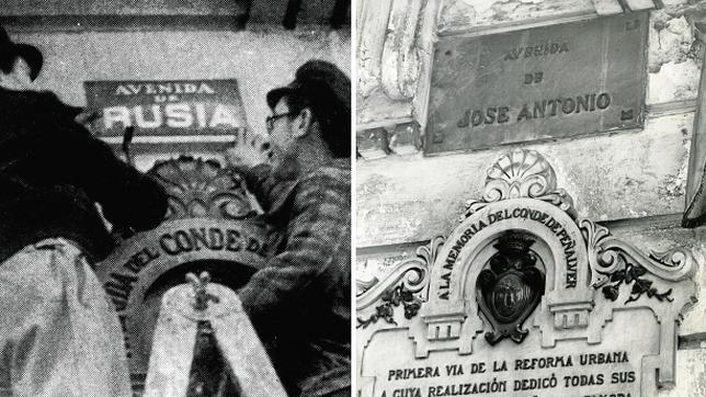 A la izquierda, operarios del Ayuntamiento renombrando la actual Gran Vía como Avenida de Rusia. A la derecha, rebautizada como «José Antonio» tras la Guerra Civil