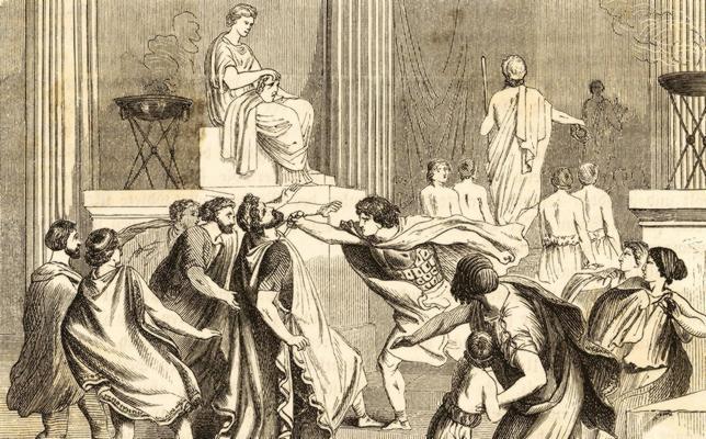 Ilustración del asesinato de Filipe II por uno de sus guardaespaldas