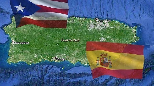Mapa de Puerto Rico con las dos banderas
