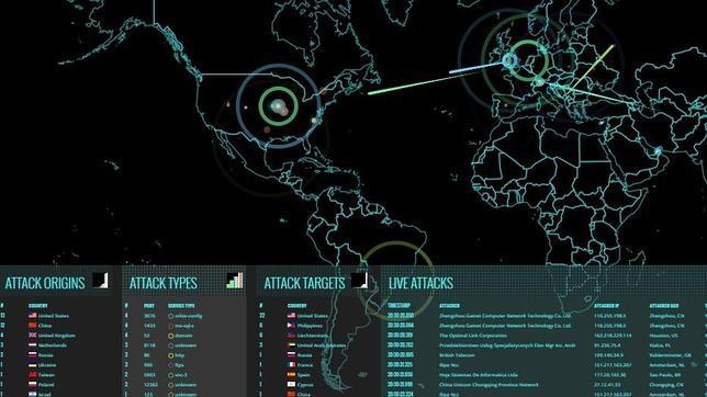 Mapa de la empresa Norse que muestra los ciberataques a tiempo real